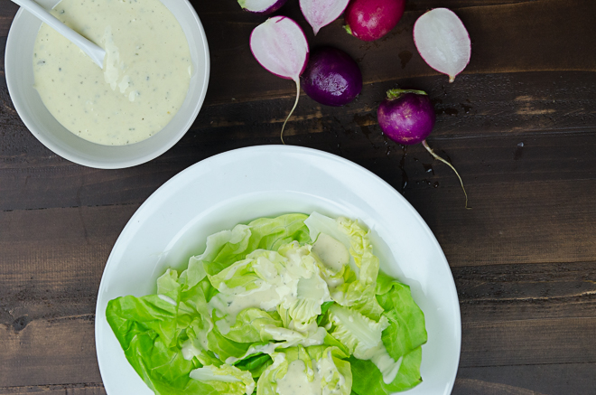 Homemade Ranch Dressing made with milk kefir for a probiotic boost, extra virgin olive oil and fresh herbs. #nourishedkitchen