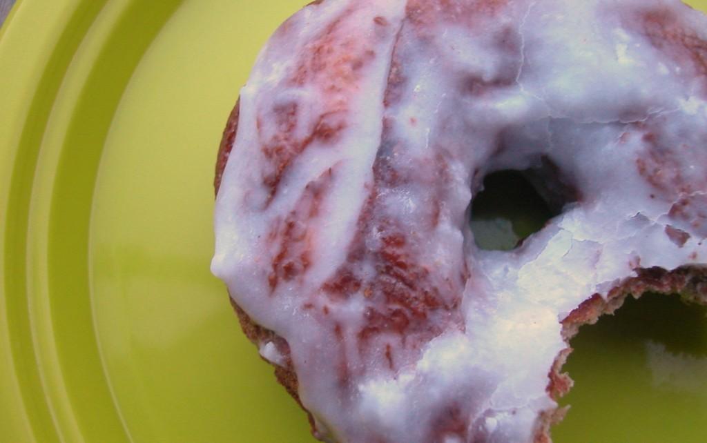 sprouted grain doughnut with coconut-vanilla glaze