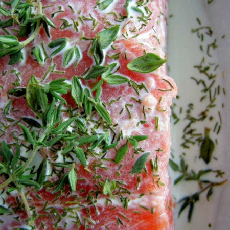 Salmon Baked in Cream and Herbs