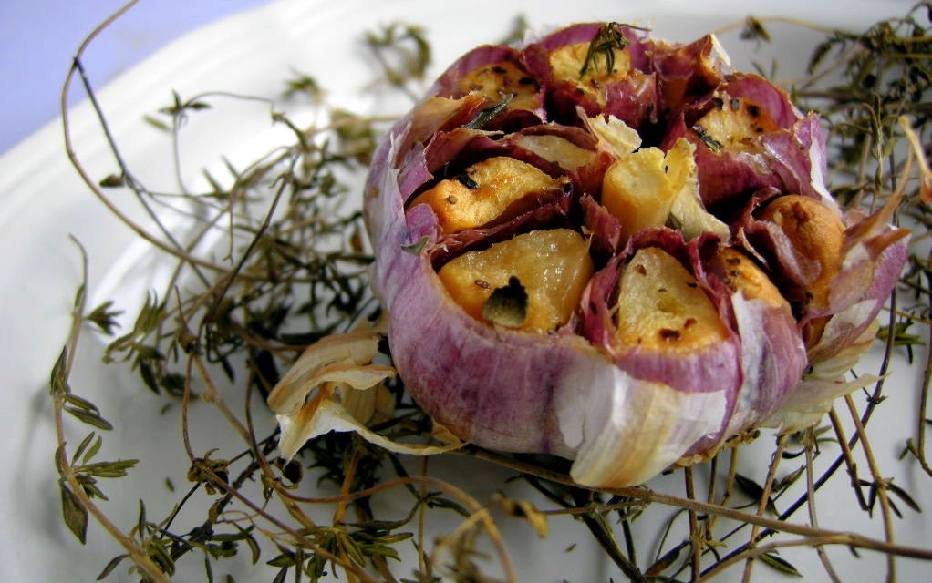 roasted garlic in lard