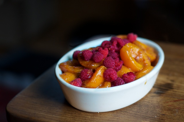 Melted Apricots with Fresh Raspberries
