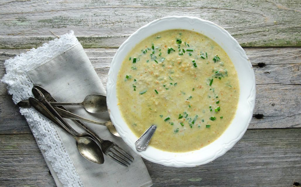 Homemade Cream of Chicken Soup using fresh herbs, chicken, vegetables, egg yolks and cream. This is made the traditional way, without flour for a naturally gluten-free cream of chicken soup.