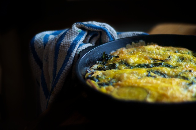 a recipe: potato & swiss chard frittata