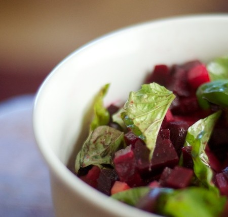 a recipe: triple beet salad with basil and olive oil
