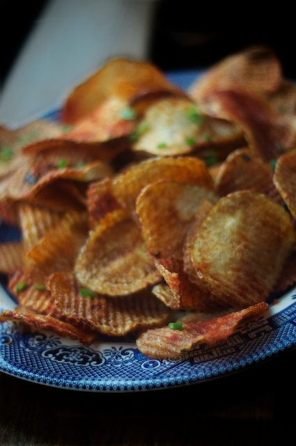 Oh Heavens: Lard-fried Potato Chips with Smoked Paprika & Scallions