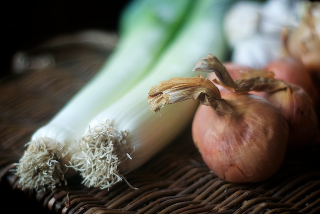 leek and shallots for onion bisque