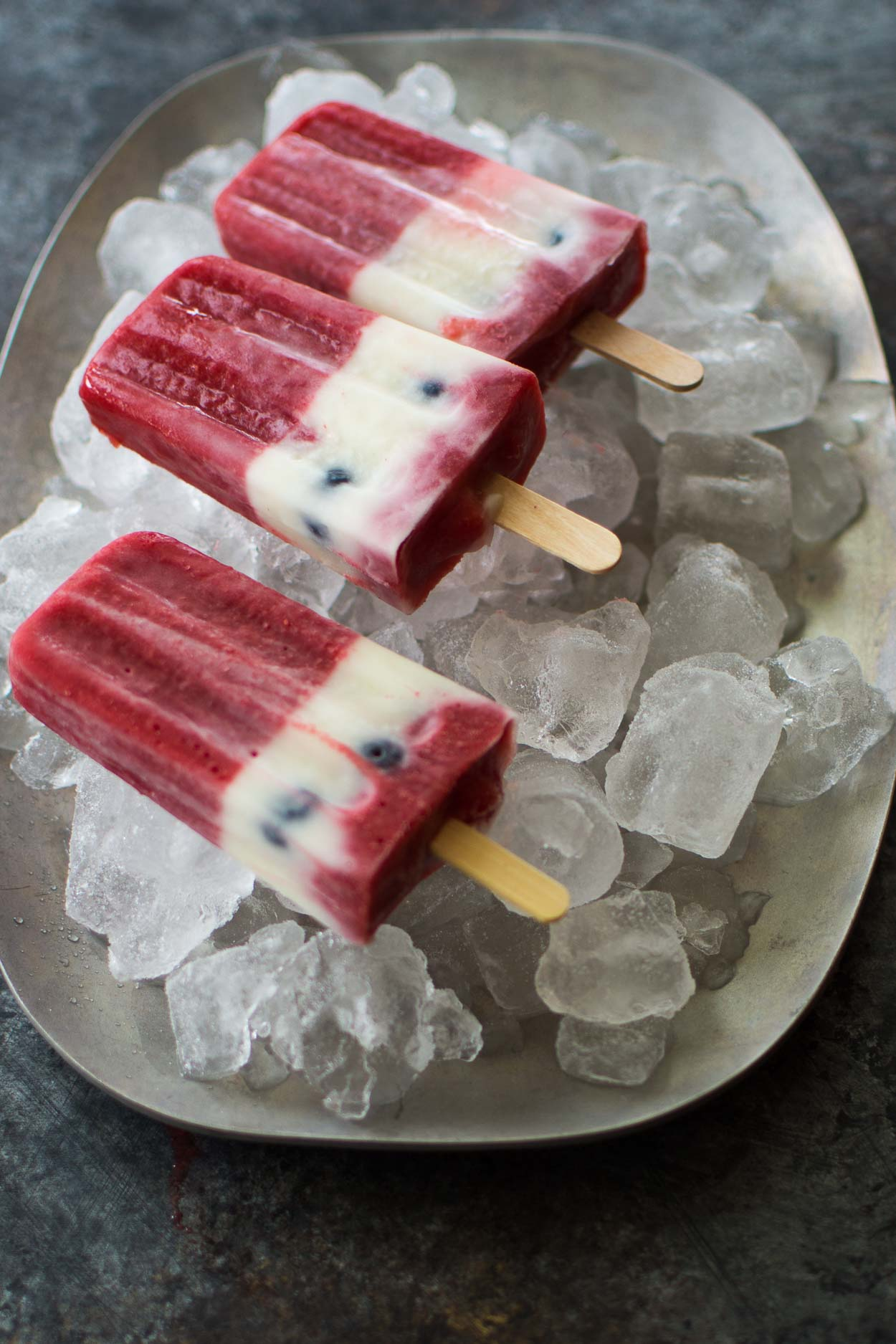 Strawberry, Blueberry and Kefir Popsicles for July 4th (They're Red, White and Blue!)
