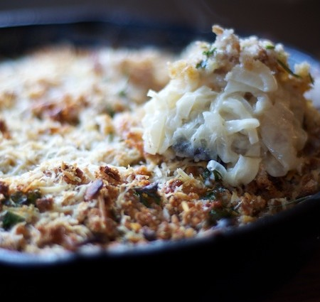 a recipe: italian red torpedo onion gratin with fresh herbs