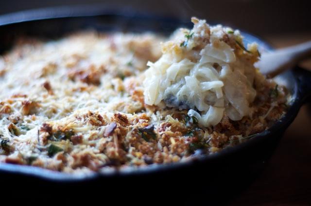 a recipe: italian red torpedo onion gratin with fresh herbs