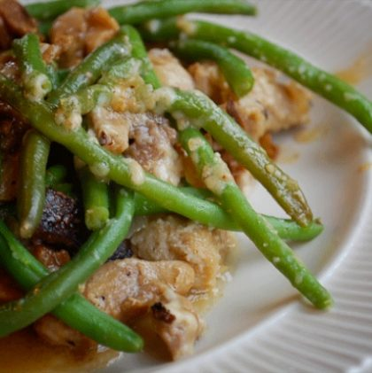 serious comfort food: bacon, chicken and green beans