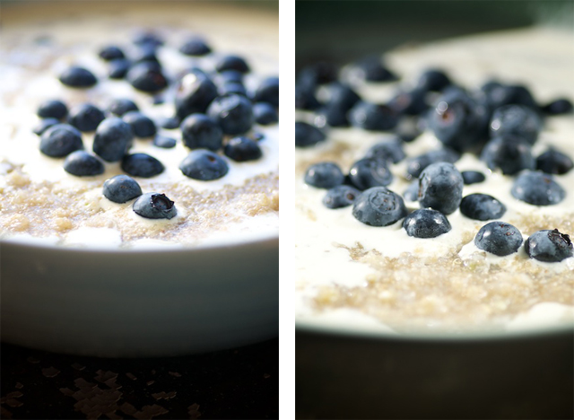 3-seed porridge in a bowl with blueberries and cream