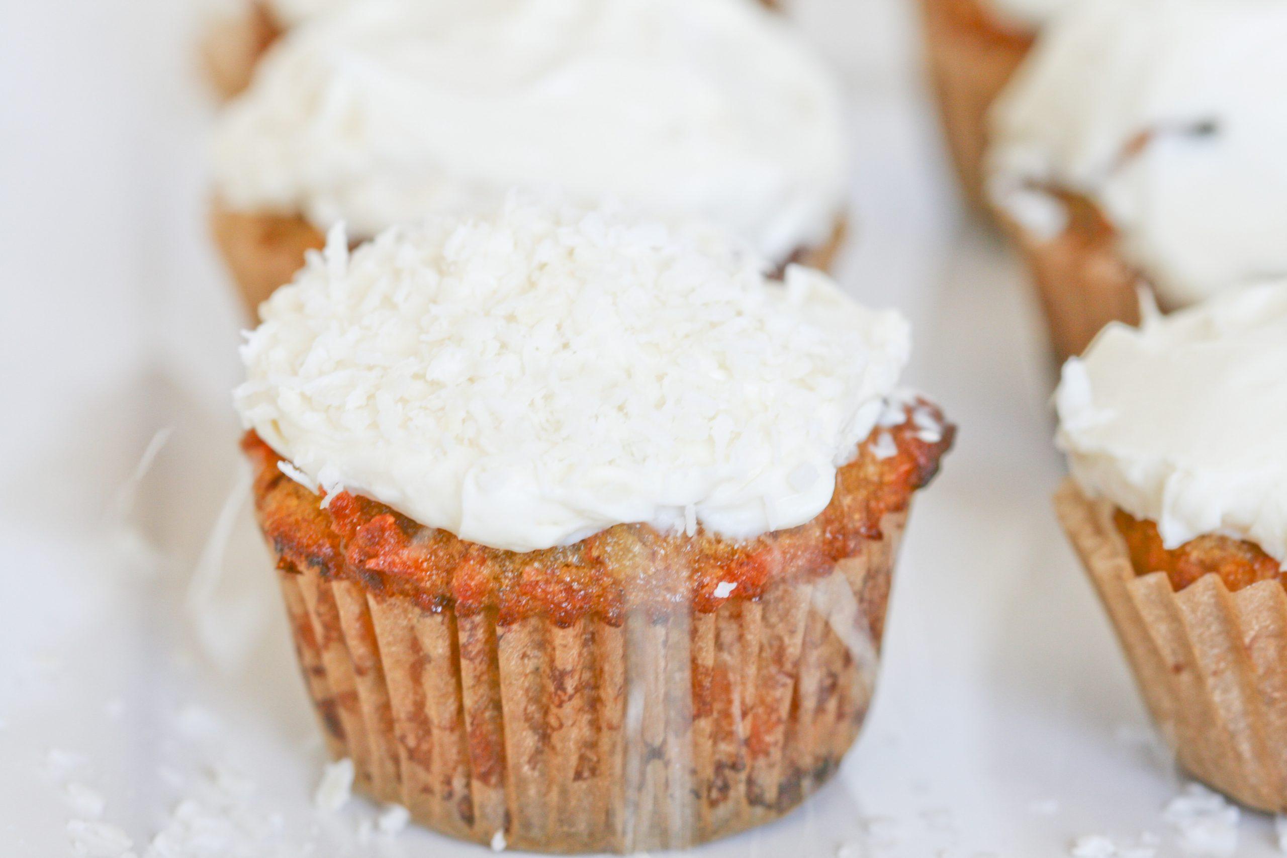 Grain Free Carrot Cupcakes With Honey Cream Cheese