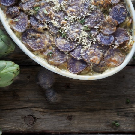 Purple Potato and Artichoke Gratin