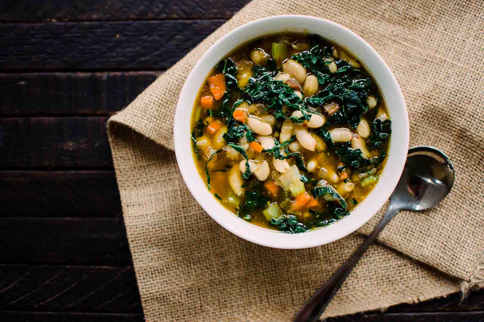 Kale and white bean soup recipe.