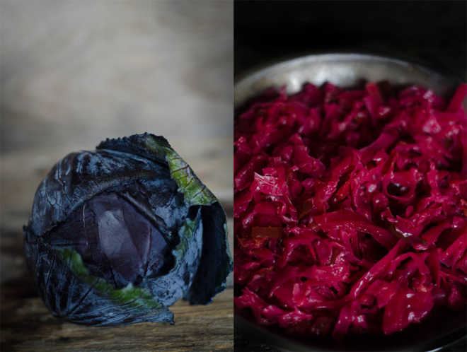 Jalapeno Garlic Sauerkraut: a super EASY ferment you can make at home using just red cabbage, garlic, jalapenos and salt.  Let it sit on your counter for 3 to 4 weeks and BAM, some of the best sauerkraut you'll ever taste.