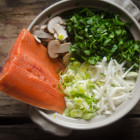 Nabemono: Japanese Winter Hot Pot featuring Miso, Dashi, Salmon, Shiitakes, Leeks, Winter Radish and Spinach.  Super easy.  Ready in 15 minutes,