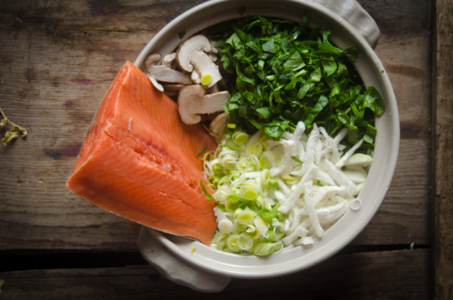 Nabemono with Miso, Salmon and Shiitakes