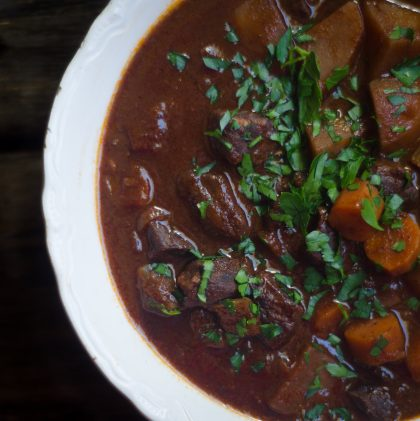 Bison Stew with Red Wine and Sweet Bay