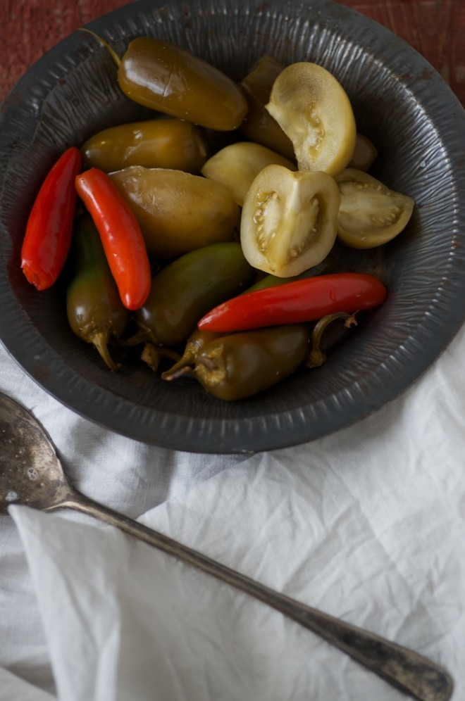 Fermented Green Tomatoes with Hot Peppers