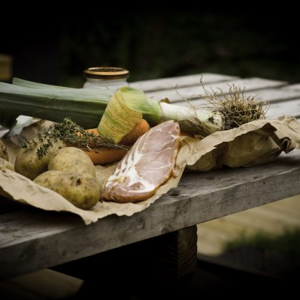 Cooking Over an Open Fire: English Bacon, Leek and Potato Soup
