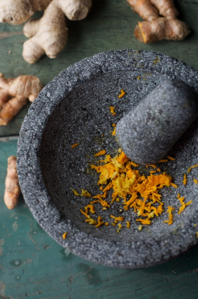 Making Golden Milk: Fresh Turmeric and Ginger with Mortar and Pestle