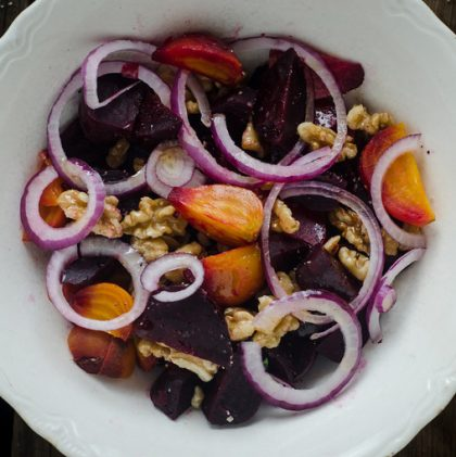 Roasted Beet and Walnut Salad with Kombucha Vinaigrette from #nourishedkitchen