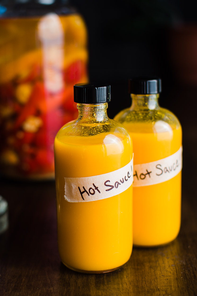 Fermented hot sauce recipe made with hot chilies, garlic and salt.