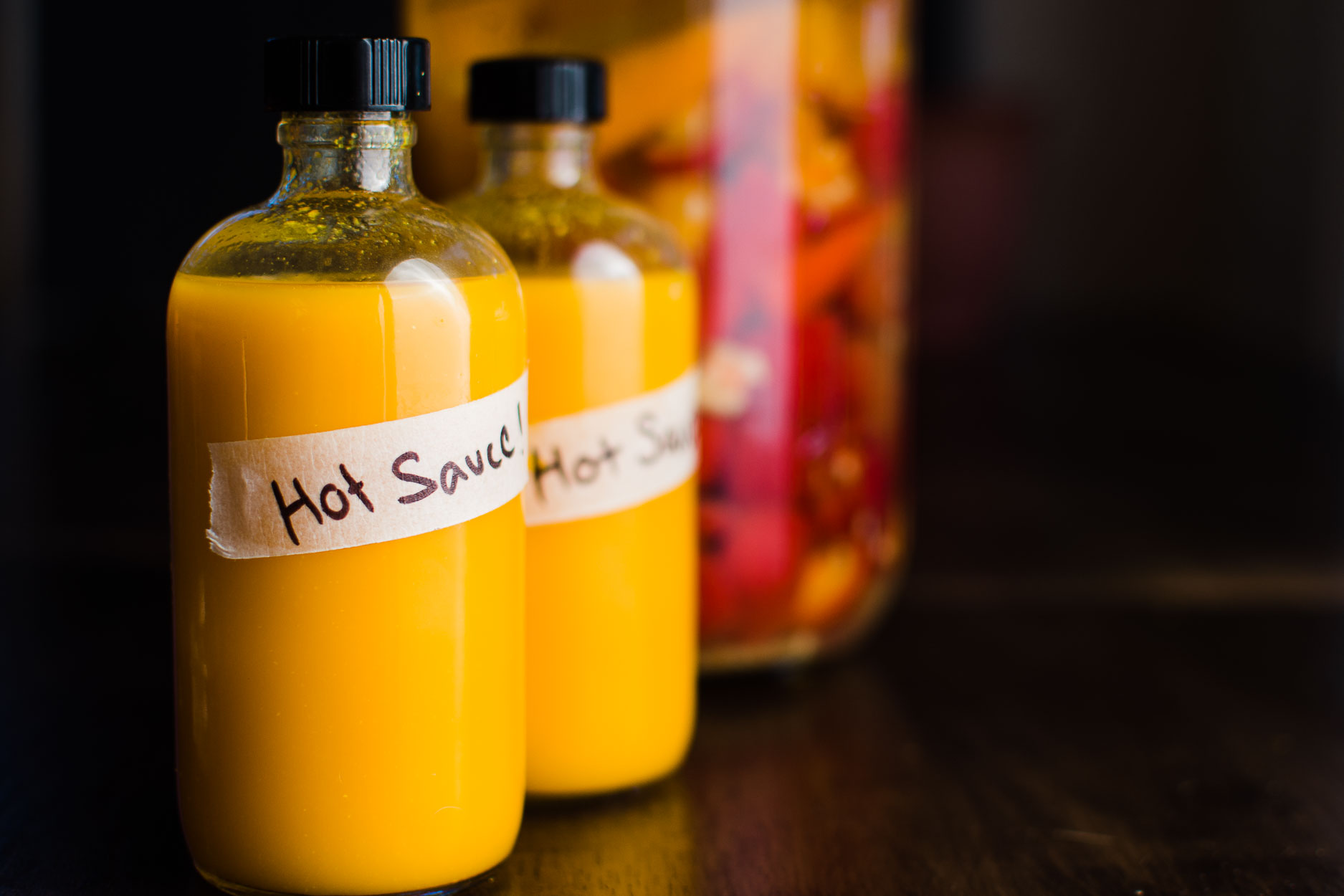 Fermented Hot Sauce recipe using hot chilies, garlic and sea salt.