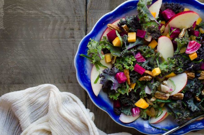 Autumn Salad: Kale, Apples, Butternut Squash, Beets, Pecans, Dried Fruit, and Kombucha Honey Mustard Dressing