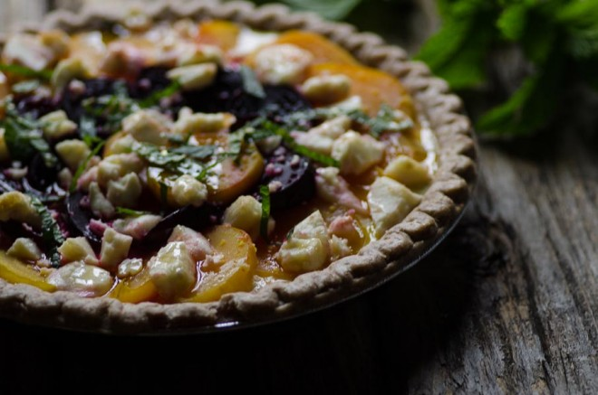 Roasted Beet and Sheep's Milk Cheese Pie with Mint and Honey