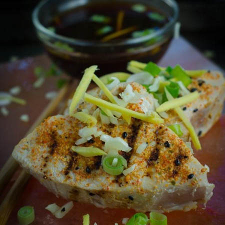 Seared Albacore with Ginger, Garlic and Green Onions
