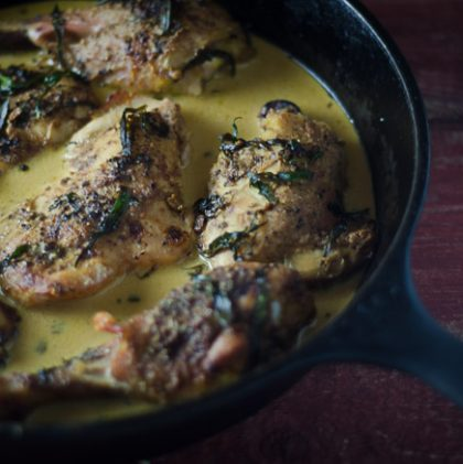 Pan-Roasted Chicken with Tarragon and Mustard Cream Sauce