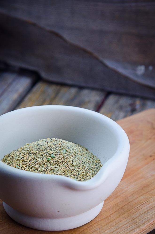 Homemade Seasoning Salt: Salt, Lemon, Pepper, Chives, Parsley #nourishedkitchen