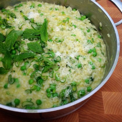 Farmers' Market Risotto with Spring Onion, Fresh Peas, and Mint