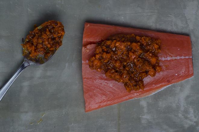 chipotle glazed salmon -raw
