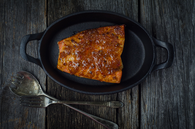 Wild-Caught Coho Salmon with Honey Chipotle Bourbon Butter
