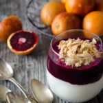 blood orange mousse with toasted coconut