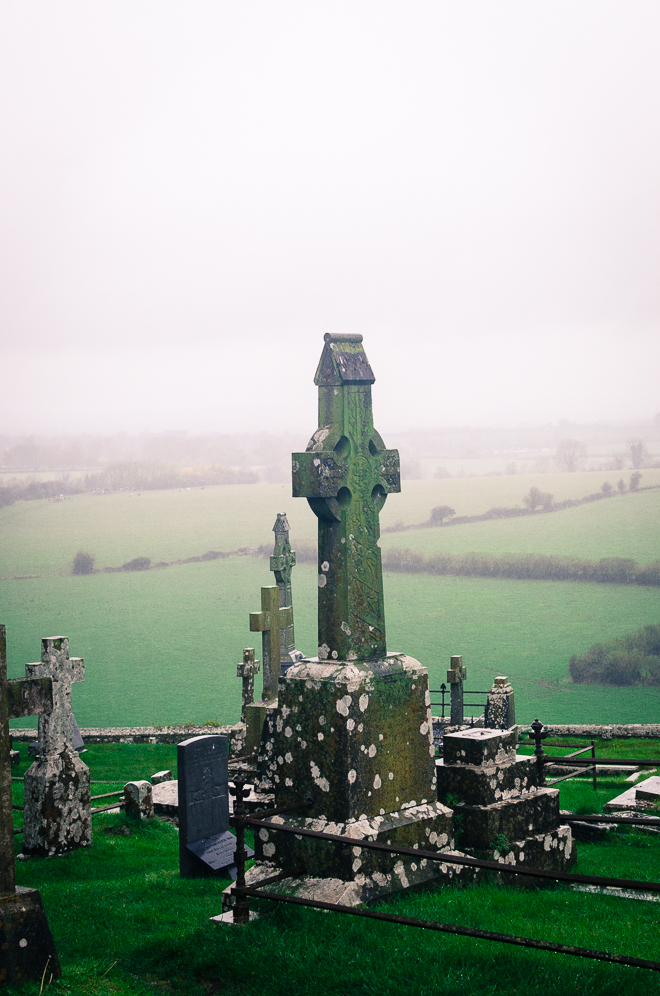 The Graveyard at the Rock of Cashel, overlooking the the rolling green hills of southern Ireland.