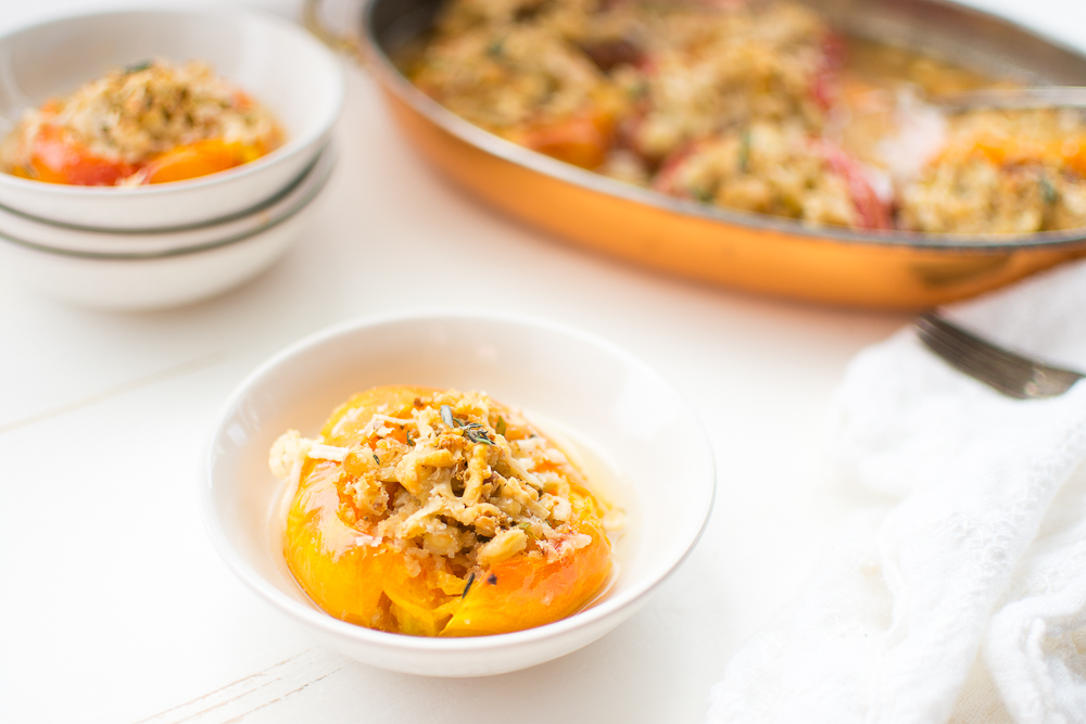An easy, simple dinner: Stuffed Heirloom Tomatoes with Flageolet Beans, Garlic, Thyme, Breadcrumbs and Parmesan.