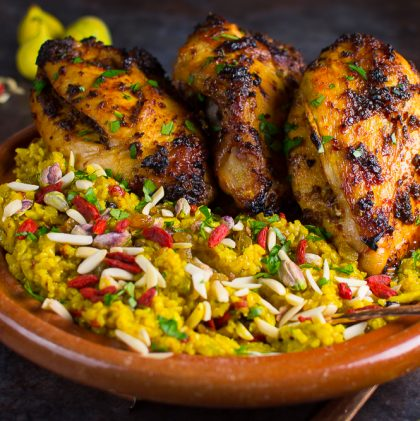 Honey Harissa Chicken with Germinated Brown Rice Pilaf