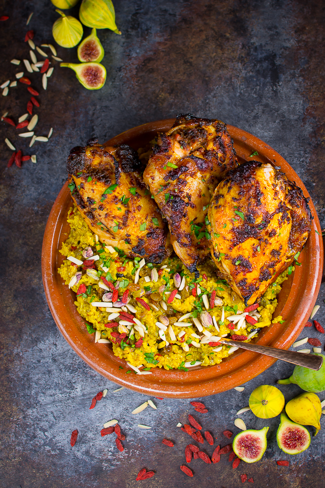 Redolent with perfume of North African spices, this easy main course blends spiced grilled chicken breast with a rich germinated brown rice pilaf.