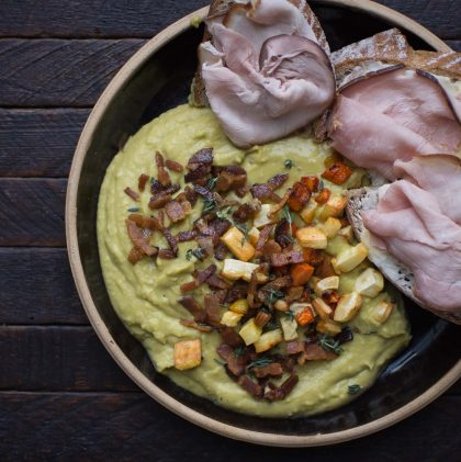 Split Pea Purée with Roasted Root Vegetables