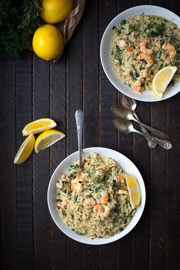 Garlic Spot Prawns over Lemon Herb Risotto: Fragrant with the bright green notes of fresh herbs and vibrant Meyer lemon, this risotto is deceptively simple to prepare for an easy one-pot supper. Sustainably wild-caught Pacific spot prawns provide a punch of color.
