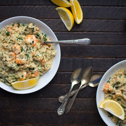 Garlic Spot Prawns over Lemon Herb Risotto