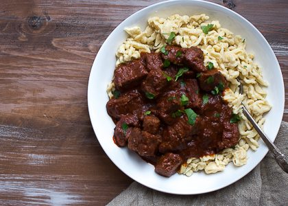 Beef Goulash with Einkorn Spaetzle and an Immigrant's Story