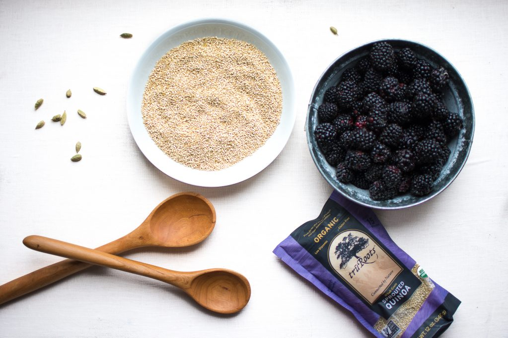 Ingredients to make sprouted quinoa porridge with cardamom blackberry sauce.