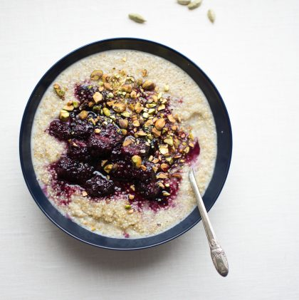 Sprouted Quinoa Porridge with Cardamom Blackberry Sauce