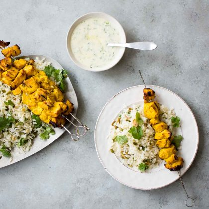 Turmeric Chicken Kebabs over Basmati Rice with Charred Green Onions