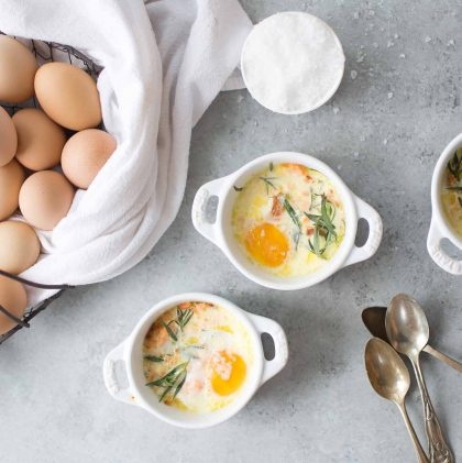 Baked Eggs with Smoked Salmon (Oeufs en Cocotte au Saumon Fumé)