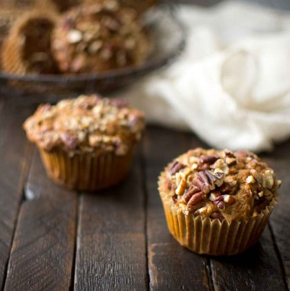 Sprouted Einkorn Apple Muffins with Pecans